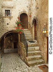 picturesque court in italian village Santo Stefano di...