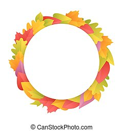 Colorful Autumn Wreath with Copy Space - Colorful Autumn...
