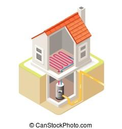 Energy Chain 04 Building Isometric - House Boiler Floor...