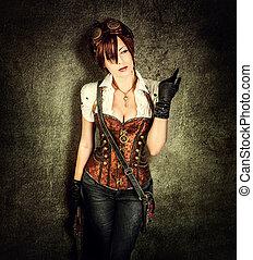 Portrait of a beautiful steampunk woman wearing vintage...