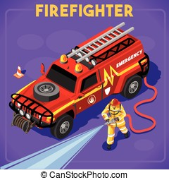 Firefighters 02 People Isometric - Firefighters with Hydrant...
