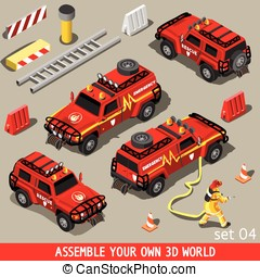 First Aid Vehicle Isometric - Fireman Flame Red Rescue SUV...
