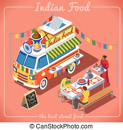 Food Truck 02 Vehicle Isometric - Indian Spicy Food Truck...