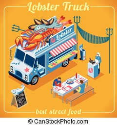 Food Truck 03 Vehicle Isometric - Fresh Lobster Food Truck...