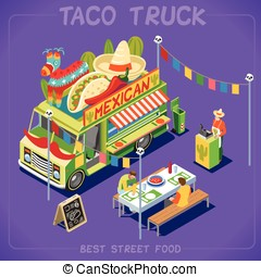 Food Truck 07 Vehicle Isometric - Mexican Taco Food Truck....