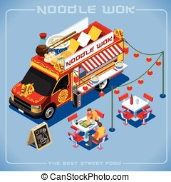 Food Truck 08 Vehicle Isometric - Chinese Noodle Wok Food...