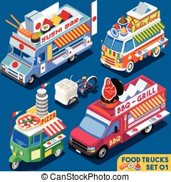 Food Truck Set01 Vehicle Isometric - Food Truck Collection....