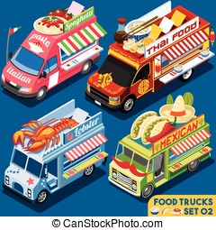 Food Truck Set02 Vehicle Isometric - Food Truck Collection...