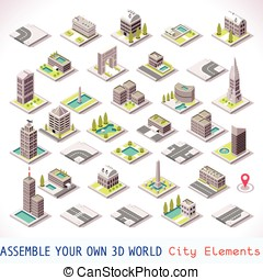 Game Set 01 Building Isometric - City Buildings and...