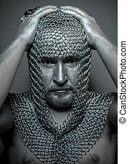 Hood, medieval executioner mesh iron rings on the head