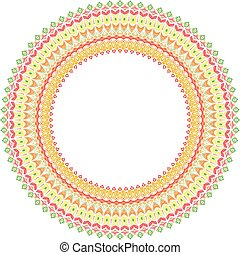 Floral Vector Round Colorful Frame