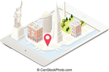NYC Map Building Isometric - NYC in a Tablet Liberty Statue...