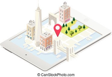NYC Map Building Isometric - NYC in a Tablet Landmarks...