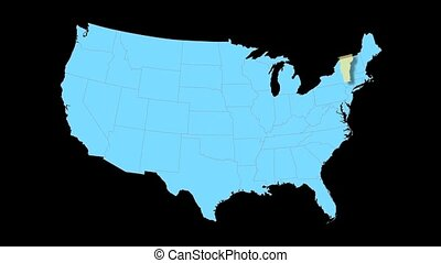 Vermont Map Zooms Out of USA - Vermont animated map video,...
