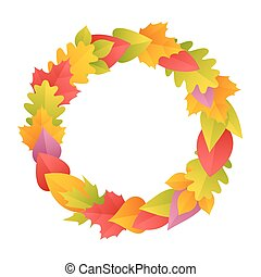 Colorful Autumn Wreath Round Frame Isolated on white...