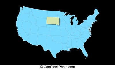 South Dakota Map Zooms Out of USA - South Dakota animated...