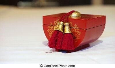 Red and gold Chinese wooden box - Video of red and gold...