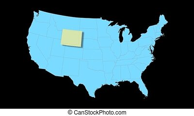 Wyoming Map Zooms Out of USA - Wyoming animated map video,...