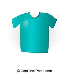 Blue t-shirt on white in vector, eps - Blue t-shirt on white...