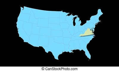 Virgina Map Zooms Out of USA - Virgina animated map video,...