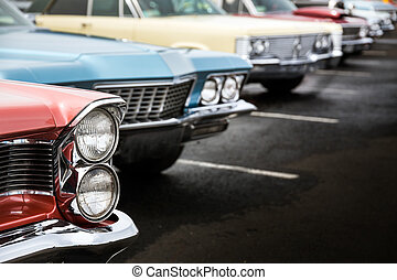 Classic cars parked in a row