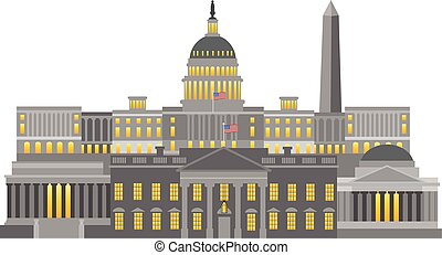 Washington DC Monuments and Landmarks Illustration -...