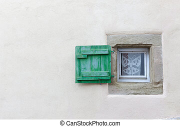 Small window and wooden shutter - Small window and green...
