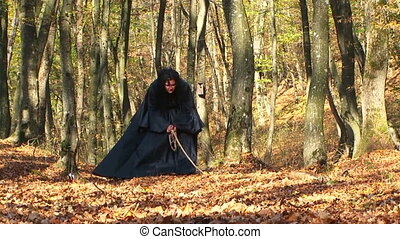 Woman In Black Being Furious In Autumn Forest - Three frames...