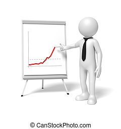 man flip chart - A business man is pointing to a flip chart
