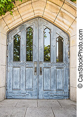 Classic blue wooden door for old church 3