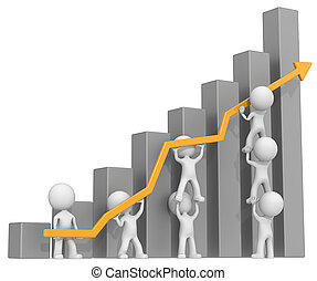 Growth - Dude 3D characters X7 business people pushing up...
