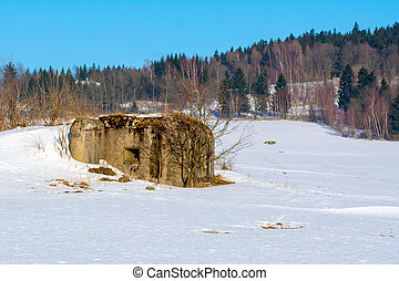 Military bunker in a winter landscape