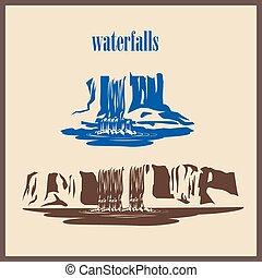 stylized waterfalls - Stylized illustration waterfalls