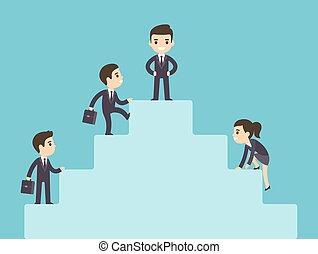 Business people climbing corporate