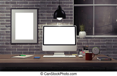Mock up modern office. - Mock up modern office workspace -...