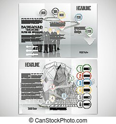 Vector set of tri-fold brochure design template on both sides. Professional business team standing over gray background with timeline. Infographic pattern