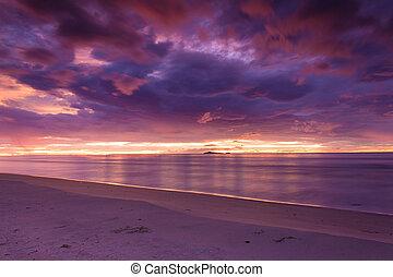 Sunrise on the beach - Prachuap Khiri Khan, Thailand-August...