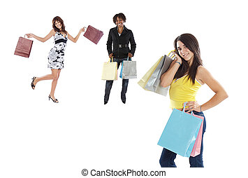 Three girls shopping on a over white background