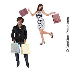 Two girls shopping on a over white background