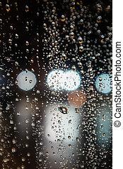 Bokeh of water drop on window in the night 9