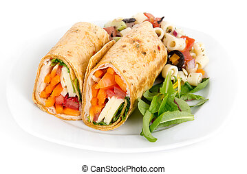 Sandwich wrap portion on plate over white background