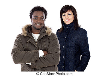 African boy and cute girl fashion with winter clothes isolated on white