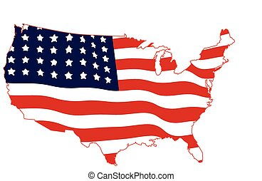 USA Map with American Flag Vector