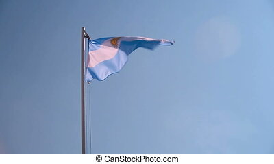 Argentina flag in slow motion - Argentina flag in front of...