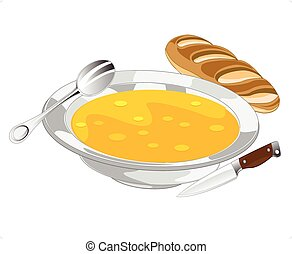 Plate with soup and bread on white background is insulated