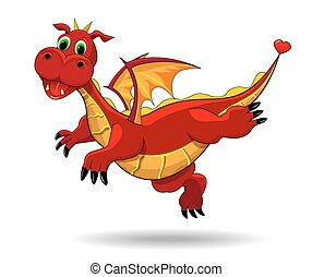 Cute funny dragon - Red dragon on a white background. Flying...