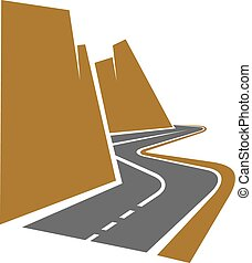 Winding mountain road or highway with center line following...