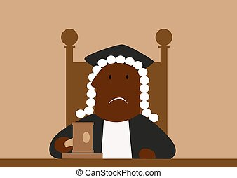 Judge in his wig passing judgment in court hammering down...