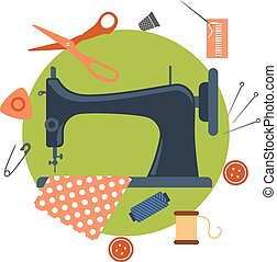Flat sewing icons and machine - Colorful flat sewing icons...