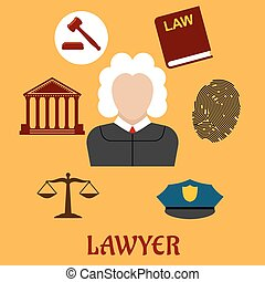 Law and justice flat icons surrounding a lawyer with a...